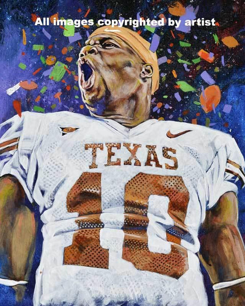 Vince Young original painting featuring Young by Robert Hurst signed by Young