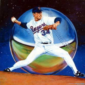 Ryan with Baseball fine art print of Nolan Ryan