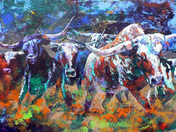 Longhorn Stampede limited edition giclee print