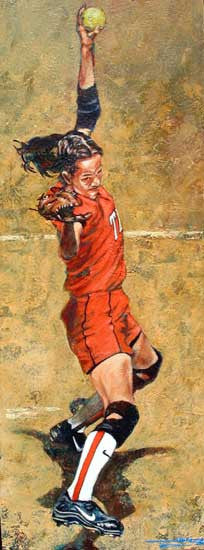 """The Wind Up"" autographed art print of Cat Osterman"
