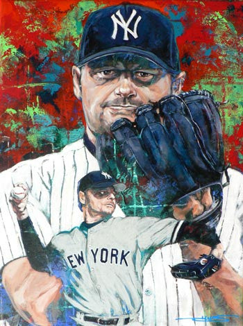 In the Clutch Roger Clemens (Yankees) autographed limited edition giclee print