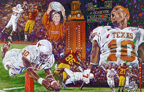 The End of a Perfect Season - limited edition giclee print (large) celebrating The University of Texas Longhorns 2005 Championship