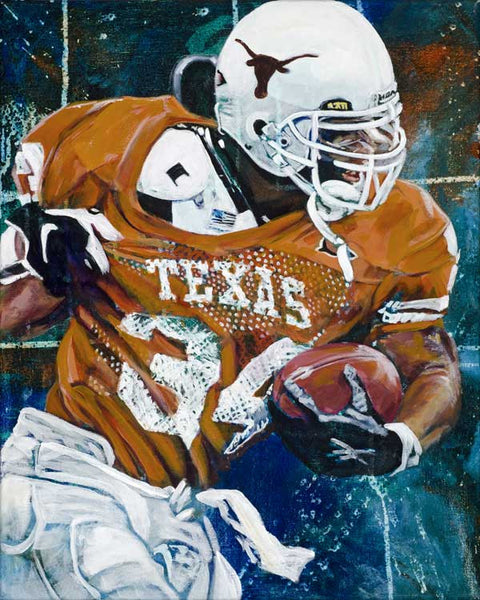 Ricky Williams original painting by Robert Hurst autographed by Williams