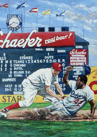 Safe fine art print featuring Jackie Robinson