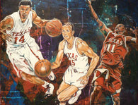 UT All American Point Guard Trio autographed fine art print signed by D.J. Augustin, T.J. Ford and Slater Martin