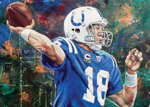 The Throw fine art print featuring Peyton Manning with the Indianapolis Colts