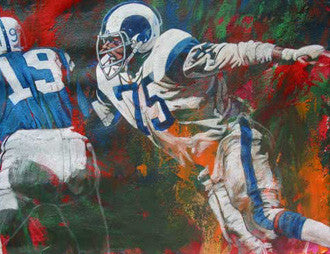 Deacon Jones autographed art print