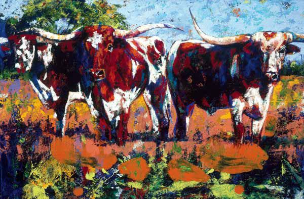 3 Amigos limited edition giclee featuring Texas Longhorns
