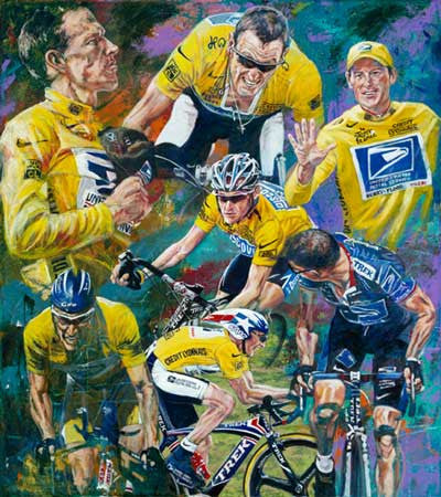 7 Wins limited edition canvas giclee print featuring Lance Armstrong