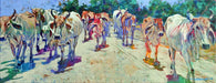 Traffic Jam Brahman cattle in Costa Rica original painting by Robert Hurst