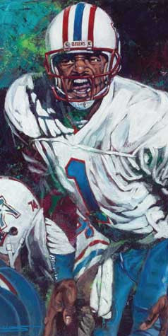 Warren Moon autographed limited edition print