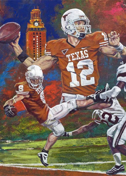 A Winning Combo limited edition canvas print on canvas featuring Colt McCoy and Jordan Shipley
