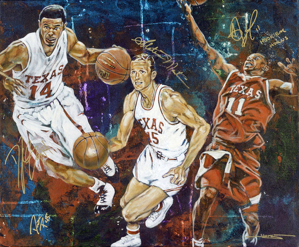 UT All American Point Guard Trio autographed fine art print featuring D.J. Augustin, T.J. Ford and Slater Martin