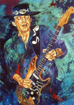 Stevie Ray Vaughan Aqua fine art print