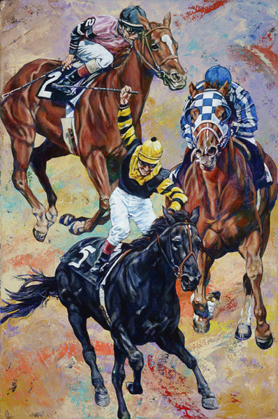 3 Kings original painting by Robert Hurst featuring the Triple Crown winners and jockeys