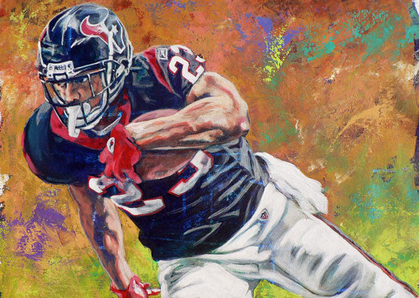 Arian Foster fine art print, autographed prints also available