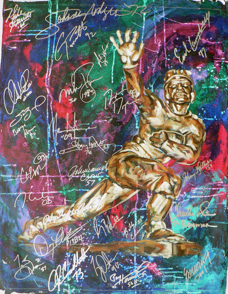 Heisman Trophy Study III painting by Robert Hurst autographed by various Heisman Trophy winners