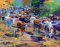 Longhorn Herd limited edition giclee featuring Texas Longhorns