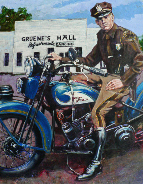 1931 Harley Flathead at Gruene Hall painting