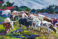 Longhorn Bluebonnets limited edition giclee on canvas featuring Texas Longhorn cattle
