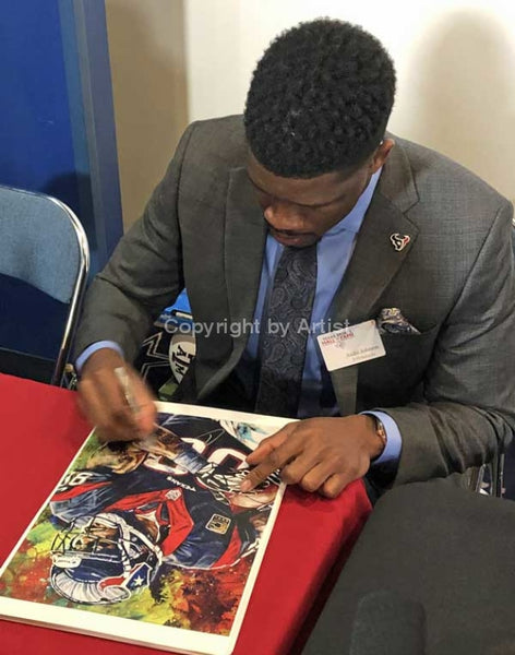 Andre Johnson signing official Texas Sports Hall of Fame print by Robert Hurst