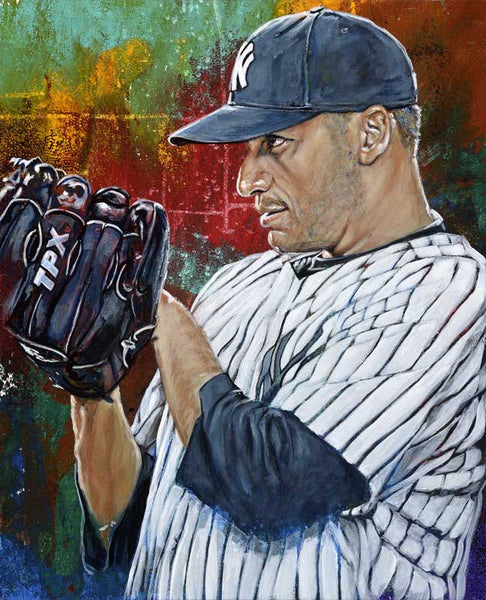 Andy Pettitte original painting featuring Andy Pettitte by Robert Hurst signed by Pettitte