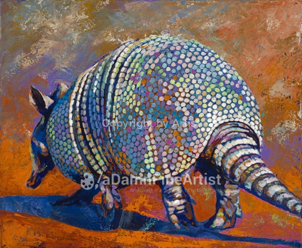 Armadillo In Orange Limited Edition Canvas Giclee Print Featuring An Armadillo Canvas