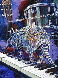 Armadillo on Keyboards fine art print, limited edition canvas giclee