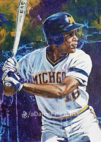 Barry Larkin - Michigan autographed limited edition print