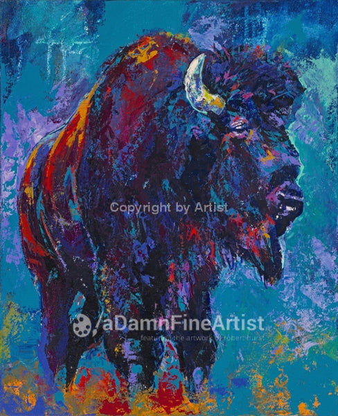 Blue Buffalo Limited Edition Canvas Giclee Print Featuring An American Bison Canvas