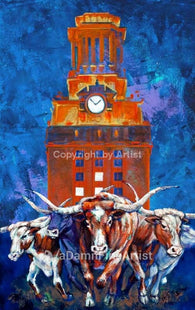Charging to Victory fine art print celebrating the University of Texas (UT) Longhorns football team