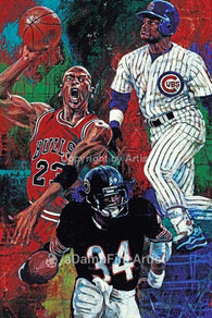 Chicago Trio fine art print featuring Chicago sports greats