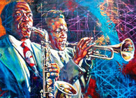 Colors of Greatness fine art print featuring Miles Davis and Charlie Parker