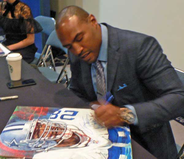 Darren Woodson original painting featuring Darren Woodson by Robert Hurst signed by Woodson