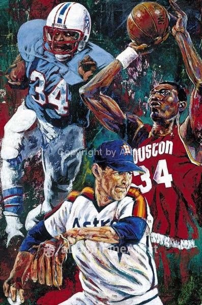 Houston 34's fine art print featuring Houston sports greats Earl Campbell, Hakeem Olajuwon and Nolan Ryan
