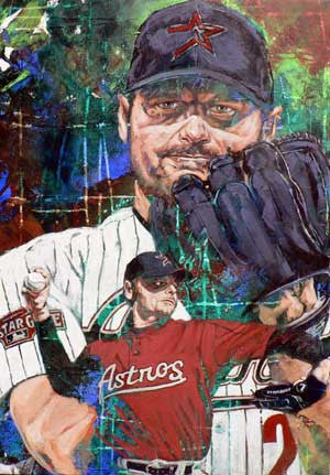 In the Clutch Roger Clemens (Astros) autographed limited edition giclee print