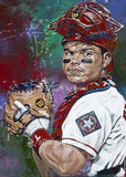 Ivan (Pudge) Rodriguez autographed limited edition fine art print signed by Rodriguez