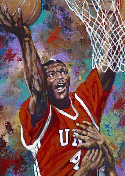 Larry Johnson autographed limited edition fine art print signed by Johnson