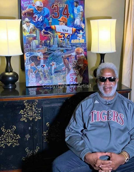 Earl Campbell with Legacy 34 painting