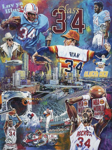 Legacy The Class of 34 original painting featuring Houston greats Earl Campbell, Hakeem Olajuwon, Nolan Ryan, Kevin Schwantz and more
