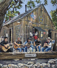 Luckenbach (Texas) Pickin' Party fine art print with limited edition canvas giclee option by Robert Hurst