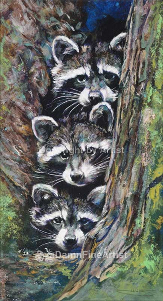 Raccoon Pile limited edition canvas giclee print