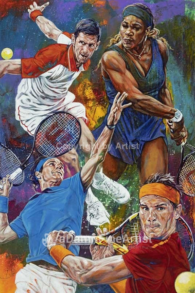 Tennis Greats fine art print featuring Serena Williams, Roger Federer, Rafael Nadal and Novak Djokovic