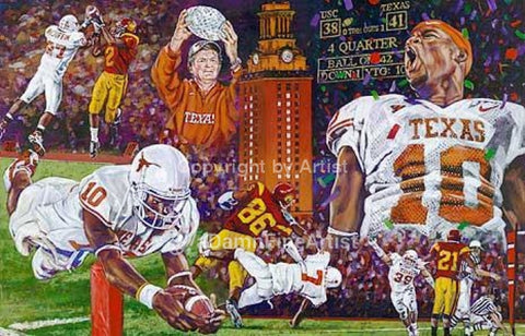 The End of a Perfect Season - limited edition giclee print (medium) celebrating The University of Texas Longhorns 2005 Championship