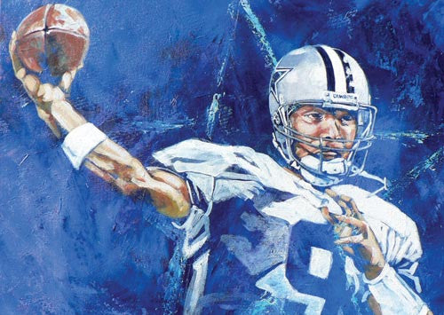Tony Romo Study in Blue fine art print