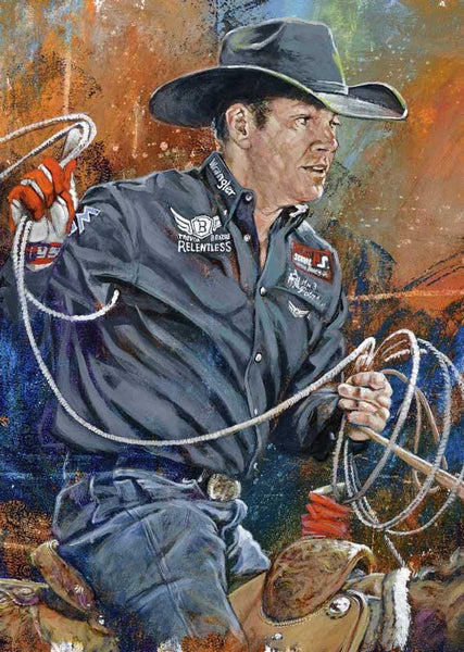 Trevor Brazile original painting featuring Trevor Brazile by Robert Hurst signed by Brazile