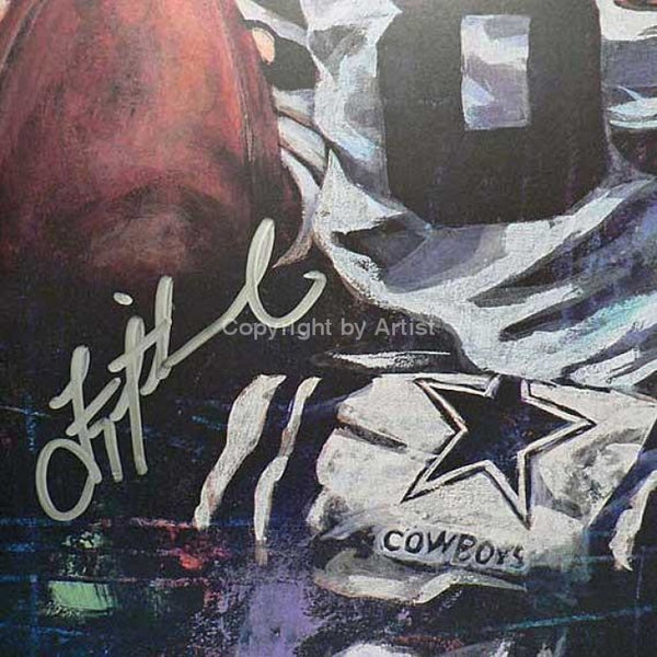 Troy Aikman autographed limited edition print