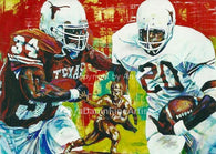 UT Heisman Homage II Earl Campbell and Ricky Williams fine art print autographed by Campbell and Williams