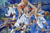 Fine art print celebrating the Dallas Mavericks 2011 NBA Championship win