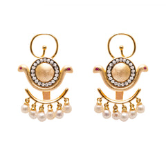 Goddess Wadjet Ear Jacket Earrings with Pearls
